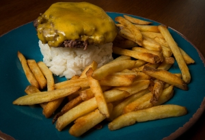 Cheeseburger with Fries and Sticky Rice__No Sugarless Gum