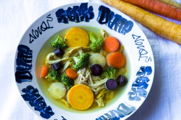 Ginger Chicken Soup with Rainbow Carrots__No Sugarless Gum
